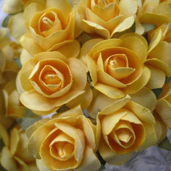 Millinery Paper Flowers 24 Small Handmade Roses In Medium Yellow