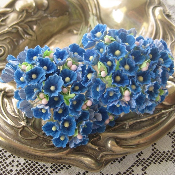 2 Bouquets Forget Me Nots Old Fashioned Millinery Flowers in French Blue