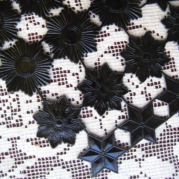 Dresden Trim Made In Germany 26 Large Black Die Cut Stars
