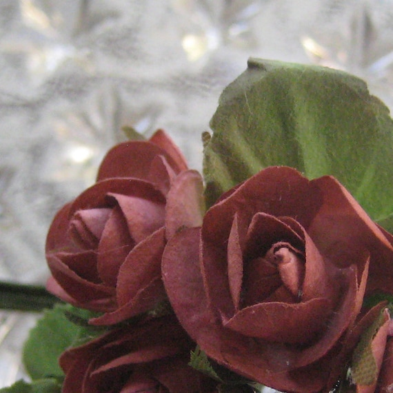 Paper Millinery Flowers 14 Handmade Button Roses In Burgundy
