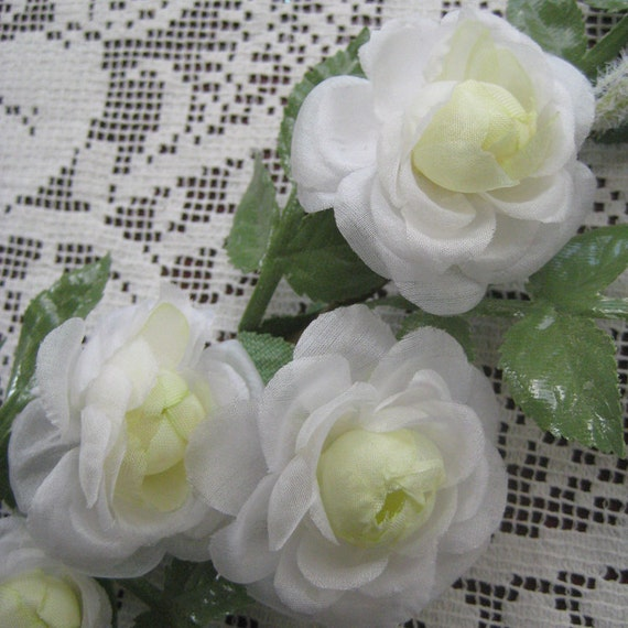 Vintage Millinery Flowers Made In Germany Fabric White Rose Spray Long Stem Flower