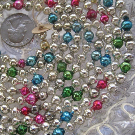 Vintage mercury glass bead christmas garland