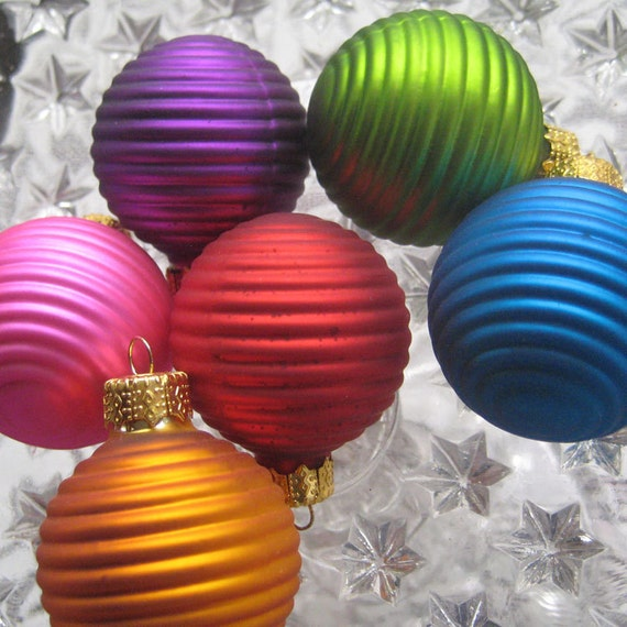 Glass Christmas Ornaments 6 Jewel Tone Ribbed Glass Balls For You To Embellish