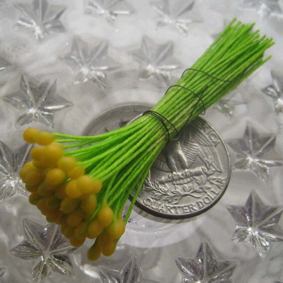 Millinery Flower Stamen Made In The Czech Republic Flower Peps 72 Stems Yellow  CR-8