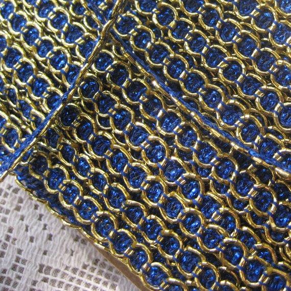 3 Yards Delicate Narrow Metallic Trim In Blue And Gold Old Store Stock