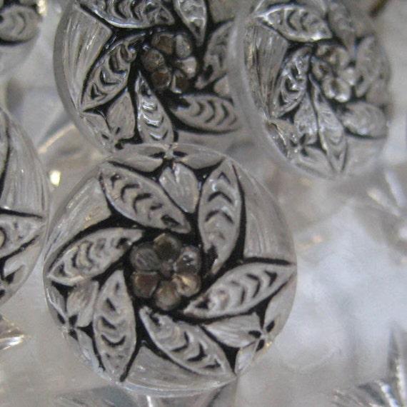 7 Czech Glass Buttons Handmade Clear And Black Glass Made In Czech Republic