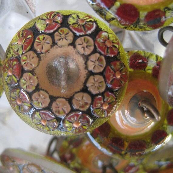 4 Czech Glass Buttons Handmade Raised Floral Glass Made In Czech Republic