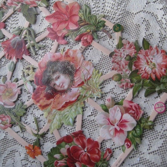 Germany Lithographed  Die Cut Paper Scraps Flower Girl Pink
