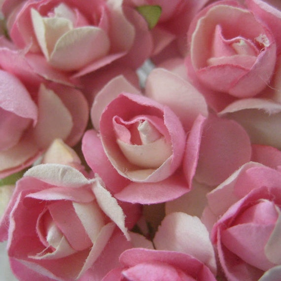 Paper Millinery Flowers 24 Small Handmade Roses In Pink Mix