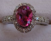 Oval Pink Sapphire  with Pave Diamond's  Ring - 18K White Gold