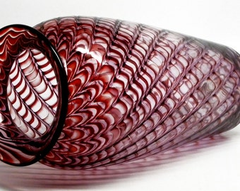 Early Blake Street Studio VASE Signed Kit Karbler Michael David CRANBERRY Red Feather Optic GLASS Rubino Pulled  Feather