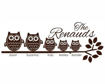 5 Owl Family on Branch Vinyl Wall Decal