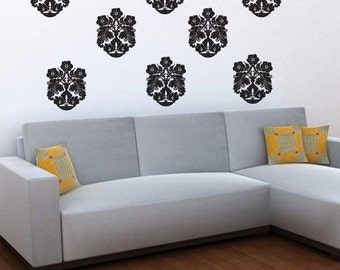 Set of 8 Damask Vinyl Wall Decals
