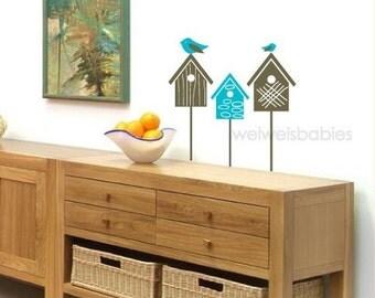 Set of 3 birds and birdhouses Vinyl Decals