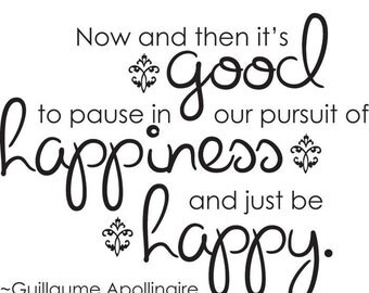 Pursuit of happiness vinyl wall quote decal art home decor