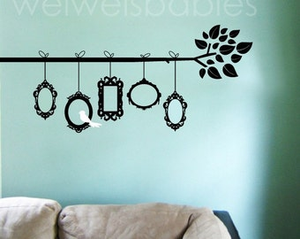 Baroque frames on branch wall decal