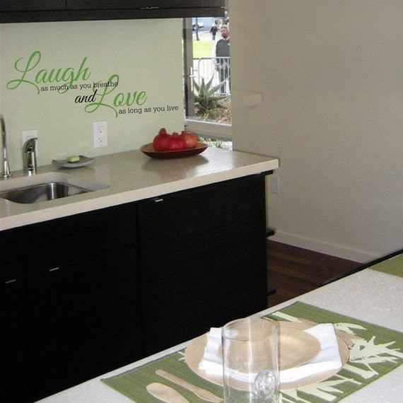 Laugh as much as you breathe dual color vinyl wall decal art sticker decor