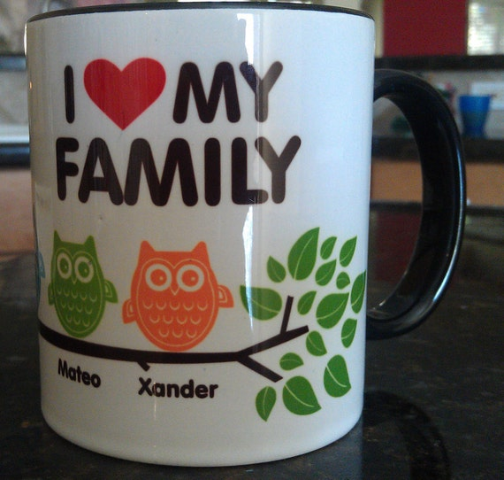 10 oz. Personalized Owl Family Coffee Mug