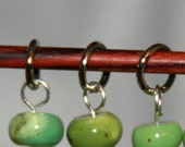 Chrysoprase Stitch Markers for small needles, set of six (6)