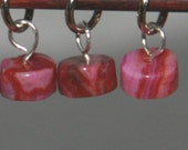 Hot Pink Agate Stitch Markers for small needles, set of six (6)