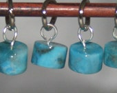 Carribean Blue Agate Stitch Markers for small needles, set of six (6)