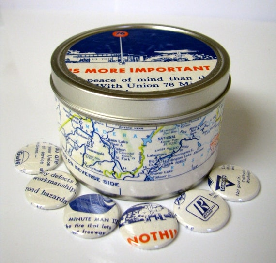 Tin canister and six one inch button magnets Vintage Union 76 California map. Storage. Home decor. Organizer.