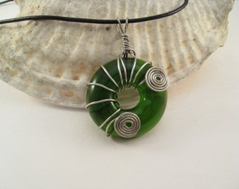 Recycled Glass Donut Pendant Green Wine Bottle Wire Wrapped
