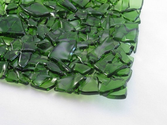 Glass Soap Dish Recycled Wine Bottle Green
