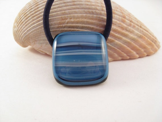 Ponytail Holder Blue Stripes Fused Glass