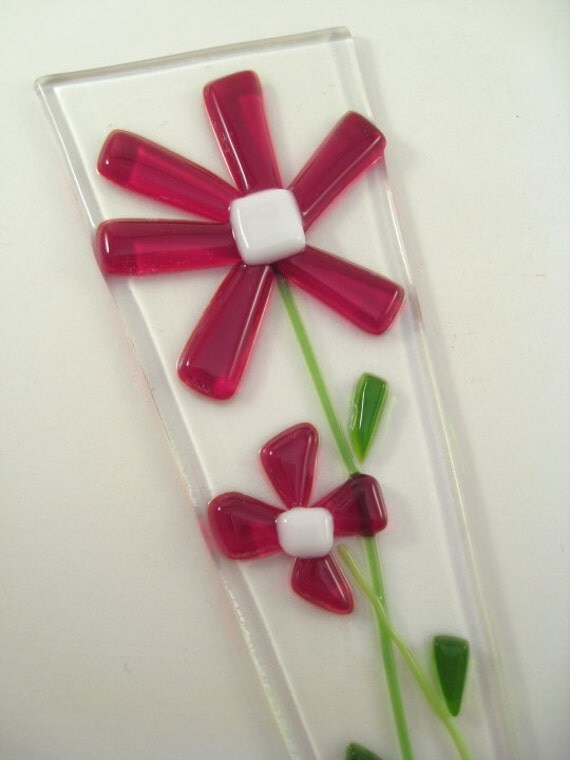 Flower Pot Plant Poke Stake - Red Fused Glass