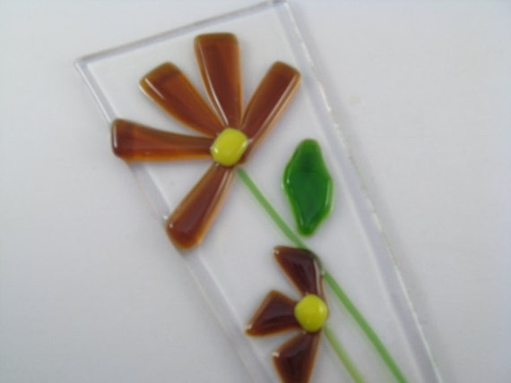 Flower Pot Plant Poke Stake - Amber Fused Glass