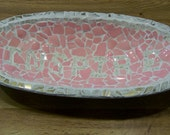 Beautiful Mosiac made from Vintage Wooden Bowl Says Inspire made of broken dishes some Vintage