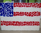 Beautiful Handmade Mosaic Flag Made with Recycled Blue Glass and Red and Off White Recycled Dishes