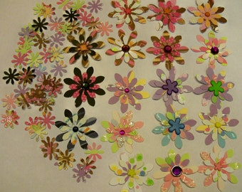 18 Large Handmade 3D Flowers For Scrapbooking Cardmaking Plus 40 Smaller Coordinating Punched Flowers
