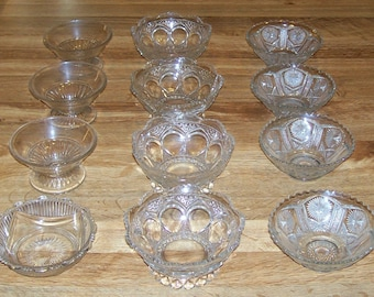 12 Antique Vintage EAPG Berry Bowls 4 Patterns Heavy Ornate Star and File by Imperial Glass Co
