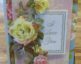 Handmade I Love You Card Anna Griffin Design and Supplies Vintage Look Roses
