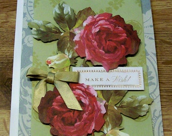 Handmade Birthday Card   Anna Griffin Design and Supplies   Vintage Look Roses Floral