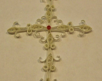 Handmade Quilling or Quilled Cross Ornament  Package Topper  Card Embellishment  Scrapbook Embellishment