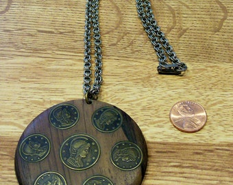 Vintage Necklace  Chain Round Wooden Piece with 7 Coins Embedded in the Wood