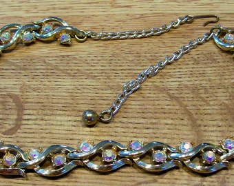 Vintage Necklace  Gold Metal Necklace with Rhinestones that are really colorful and Sparkly