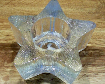 Vintage Avon Glass Votive Candle Holder in the Shape of a Star  Perfect Condition