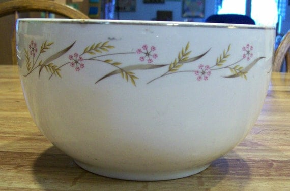 Vintage BOWL Harvest by Universal Ballerina edged in 22k Gold decorations by Comde