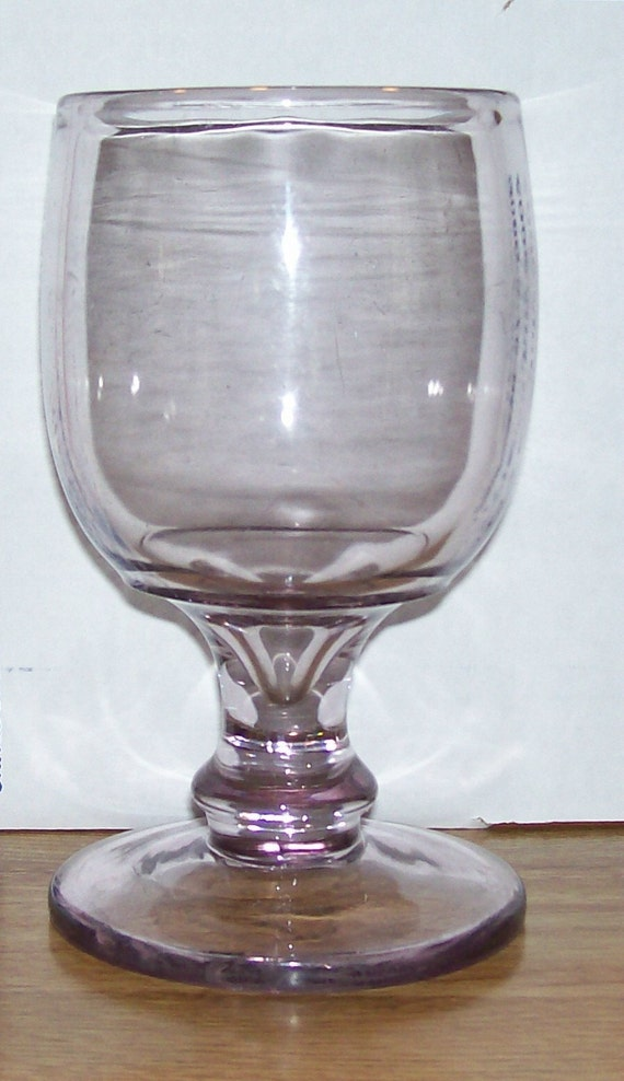 Large Vintage Purple Goblet  Very Thick Glass in Excellent Condition