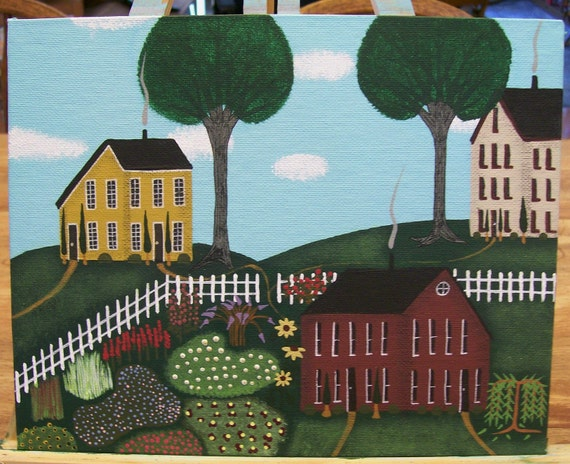 Original Folk Art Painting Saltbox Houses One With a Flower Garden Fence Trees Shrubs