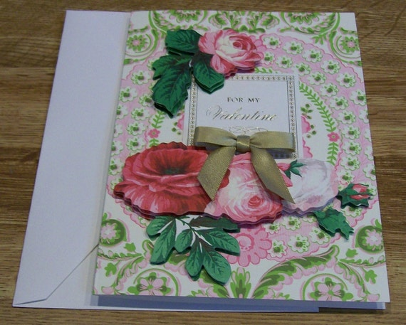 Handmade VALENTINE Card Anna Griffin Design and Supplies Vintage Look Roses