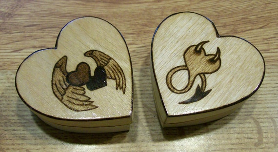 Pyrography or Woodburning on 2 Small Heart Shaped Boxes Hearts with Angel Wings and Heart with Devil Horns and Tail
