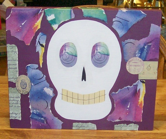 Rrduced Original Mixed Media Collage on Wood SKULL dia de los muertos Day of the dead