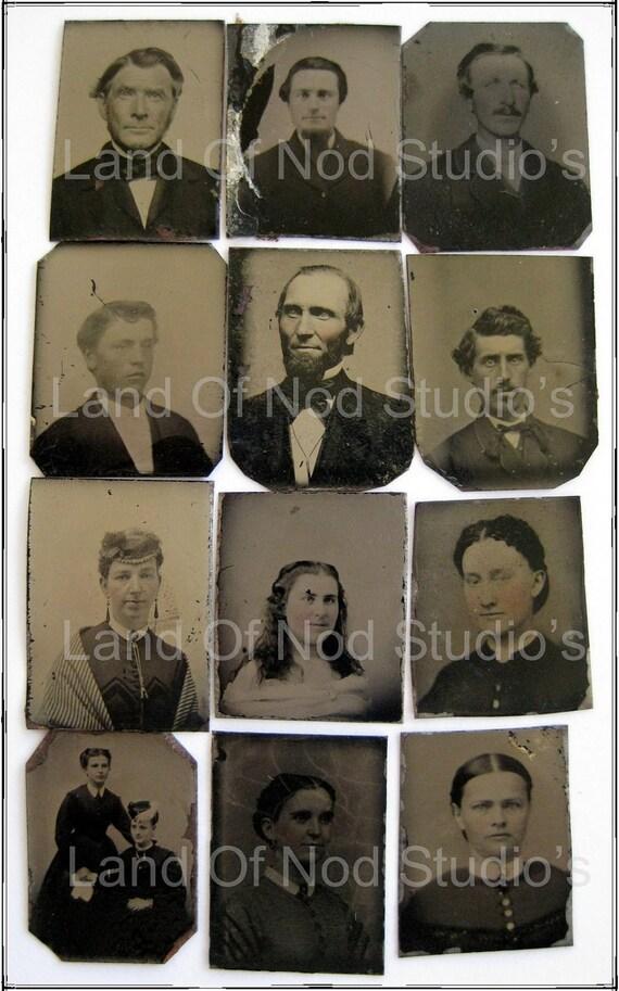 12 Damaged ORIGINAL Gem Tintype photos men and ladies lot No 4
