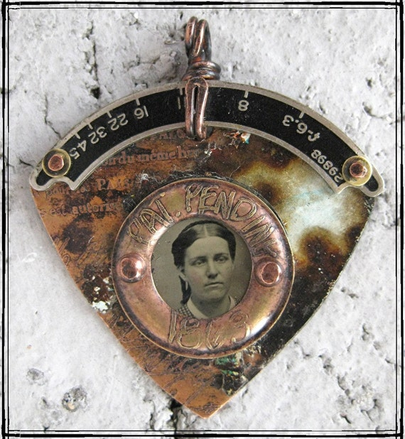 Original OOAK etched mixed metal pendant with tintype photo PAT PENDING