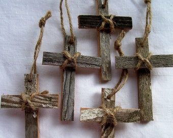 100 Year Old Wood - WOOD CROSS Ornaments - Set of Five